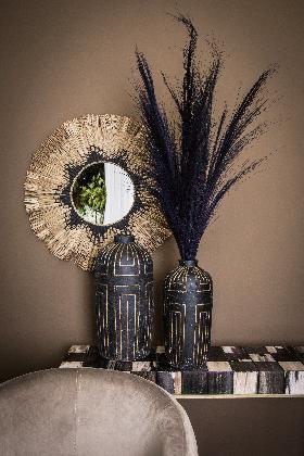 PTMD Davian Zwart pot keramiek met goud design