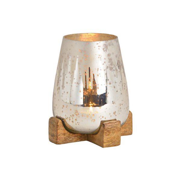 Lantaarn op mangohouten voet gemaakt van champagneglas