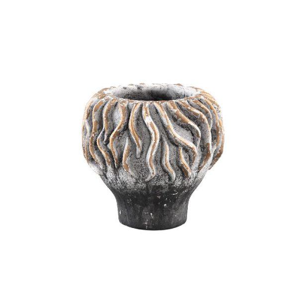 Ptmd Katy grey gold cement pot koraal op voet