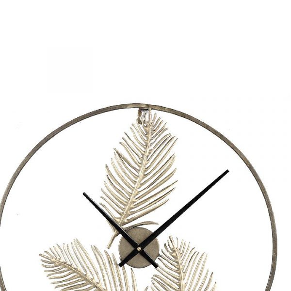 Ptmd Logas gold metal clock open feather design
